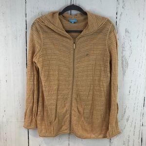 Escada Sport Metallic Gold Hoodie Sweater Jacket